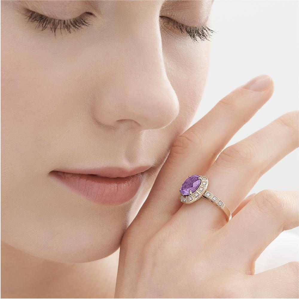 טבעת ARENA קטנה בזהב אצילי, אמטיסט ויהלומים