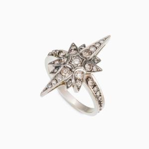 טבעת STARS בינונית בזהב אצילי ויהלומים בצבע קוניאק
