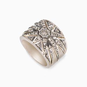 טבעת DECO STARS בינונית בזהב אצילי ויהלומים