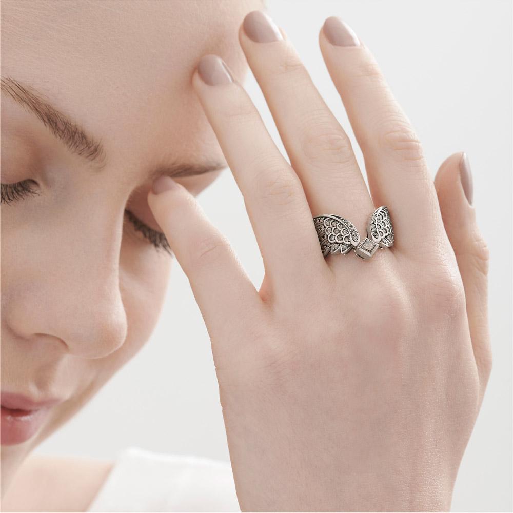 טבעת כנפיים ROCK SEASON גדולה בזהב אצילי ויהלומים