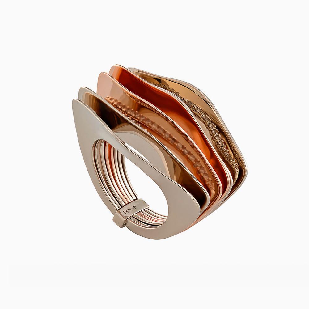 טבעת GRUPO CORPO בזהב אצילי, זהב ורוד ויהלומים