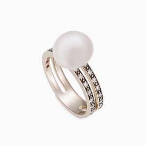 טבעת LUNA בזהב אצילי, יהלומים ופנינה