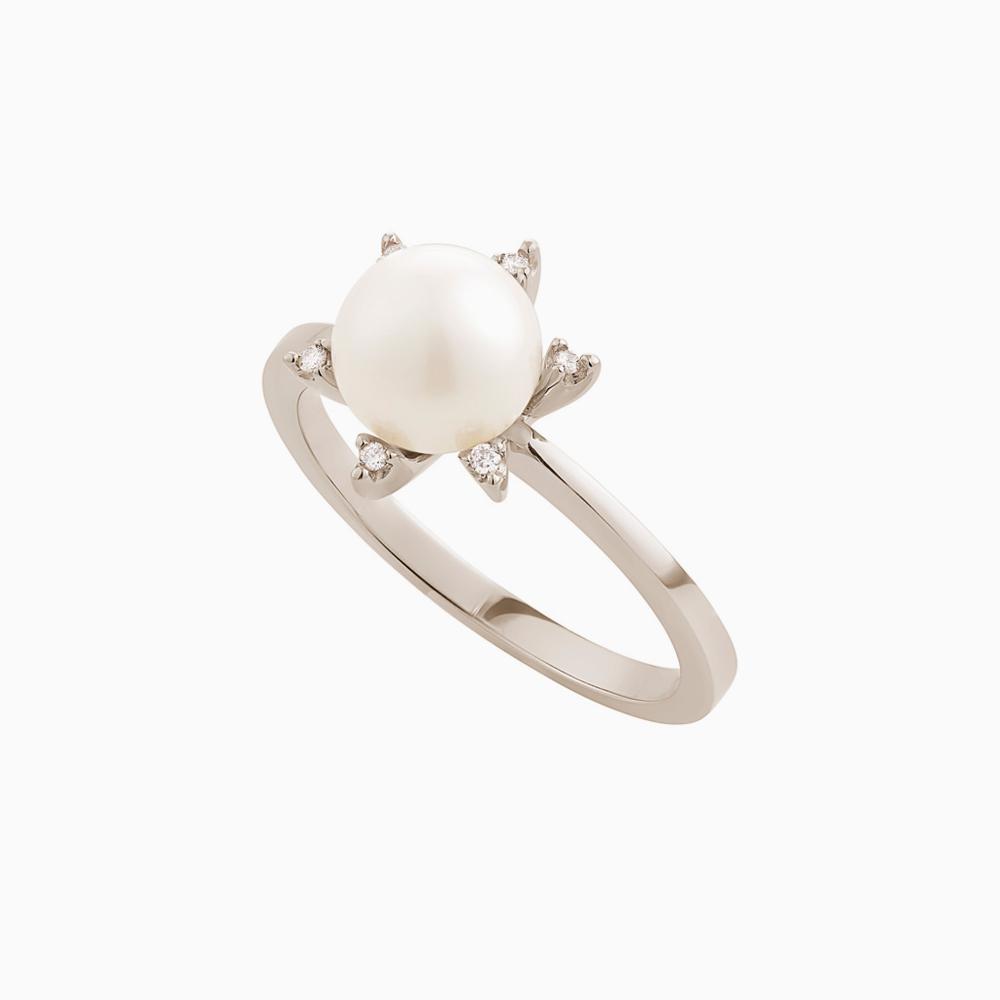 טבעת GRAVITY בזהב אצילי, פנינה ויהלומים