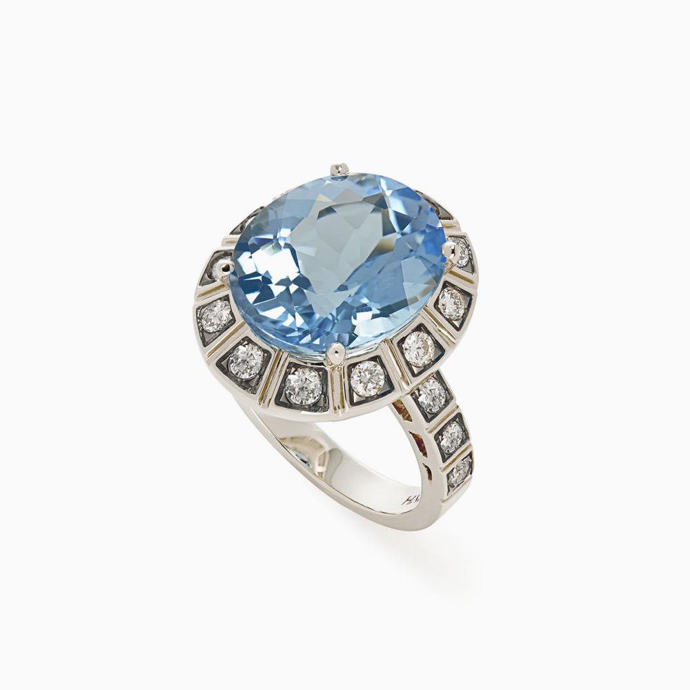 טבעת ARENA קטנה בזהב אצילי, טופז כחול ויהלומים