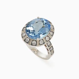 טבעת ARENA גדולה בזהב אצילי, טופז כחול ויהלומים