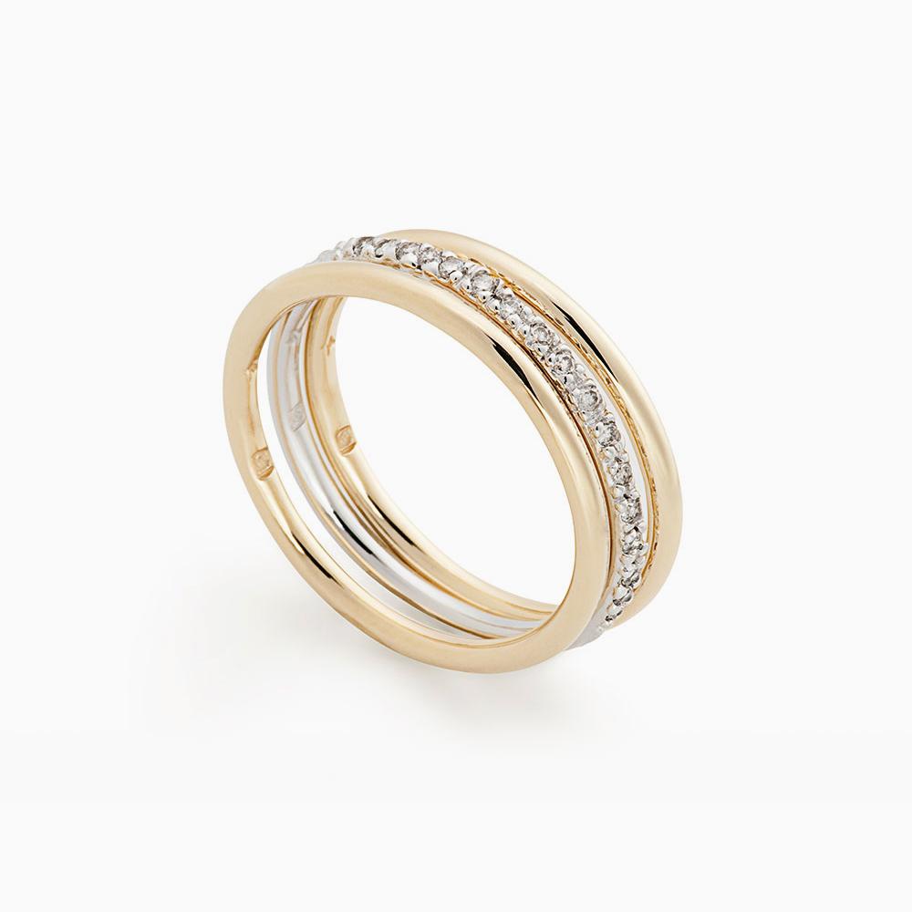 טבעת MYCOLLECTION בזהב צהוב, לבן ויהלומים