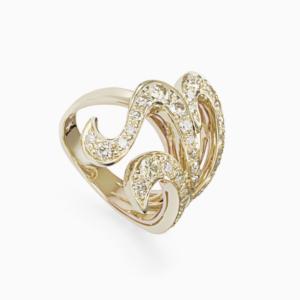 טבעת IRIS בזהב צהוב ויהלומים