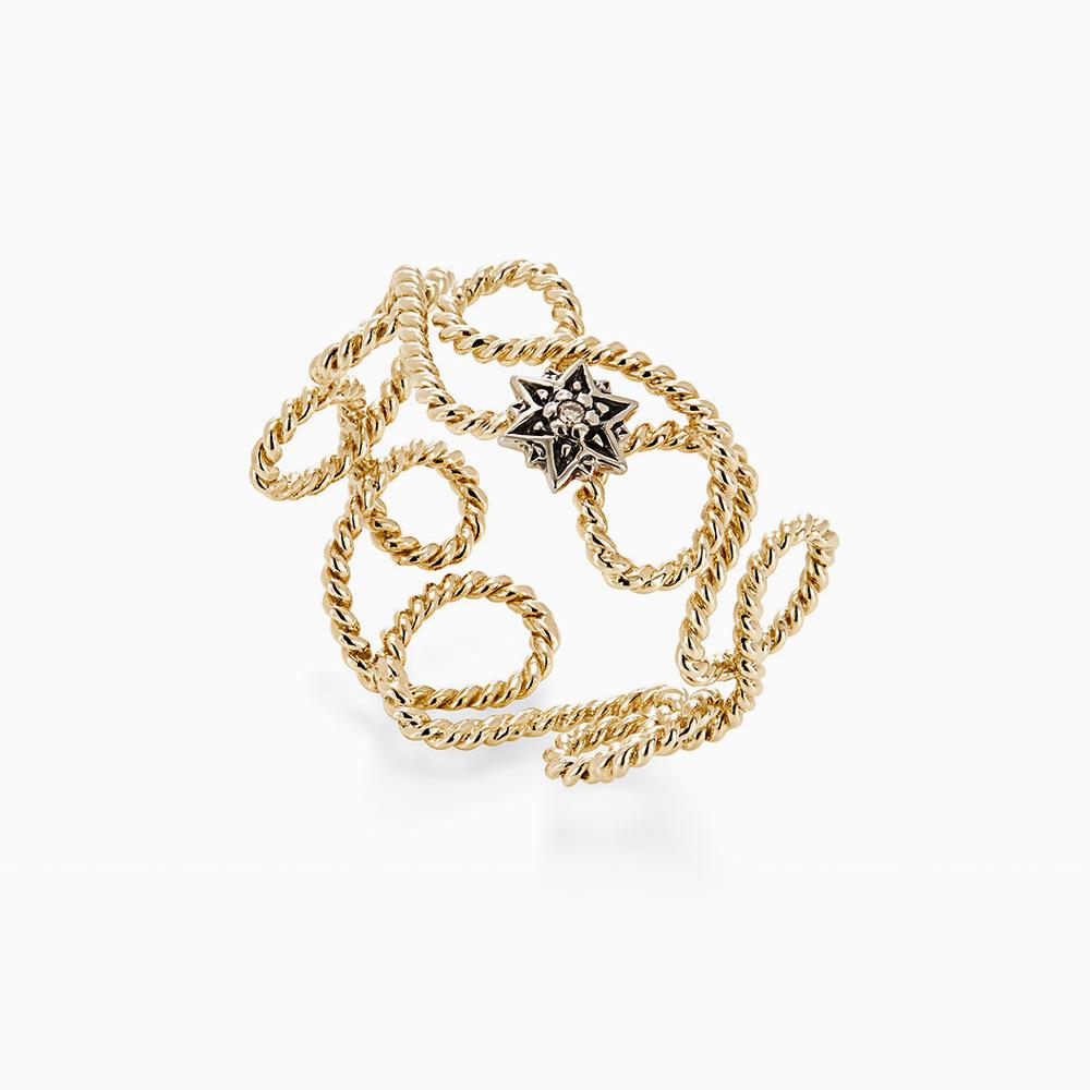 טבעת MYCOLLECTION בזהב צהוב, כוכב ויהלום