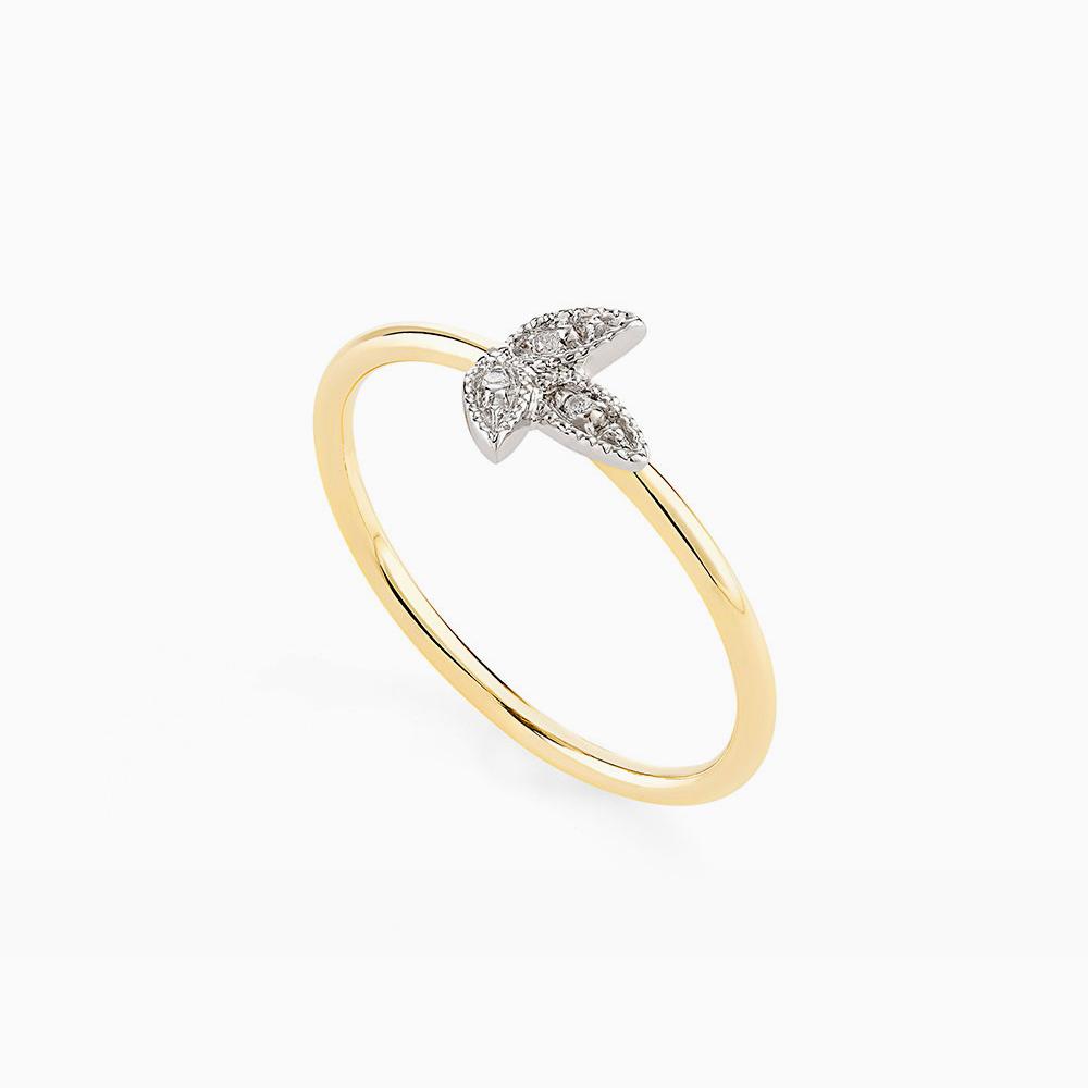 טבעת MYCOLLECTION בזהב צהוב, עלה ויהלומים