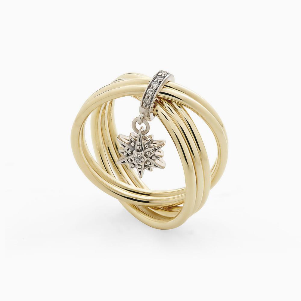 טבעת PEARLS OF GENESIS קטנה בזהב צהוב, זהב אצילי ויהלומים