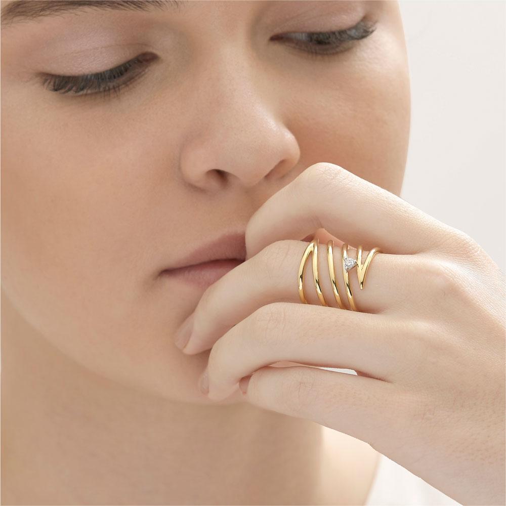 טבעת ספירלה ארוכה SIMPLECHIC בזהב צהוב ויהלום