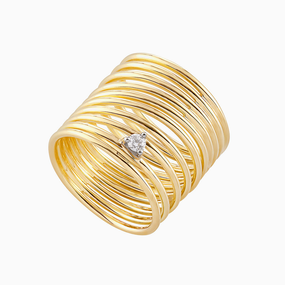 טבעת SIMPLECHIC גדולה בזהב צהוב ויהלום