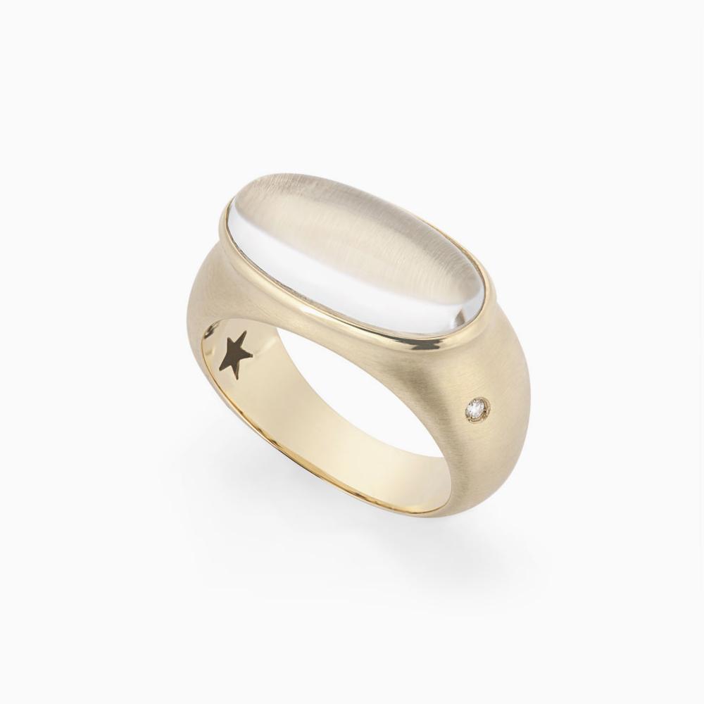 טבעת JUSTINE בזהב צהוב, קריסטל ויהלומים