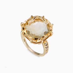 טבעת MOONLIGHT בזהב צהוב, סיטרין ויהלומים