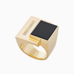 טבעת BURLE MARX בזהב צהוב, קוורץ שחור ויהלומים