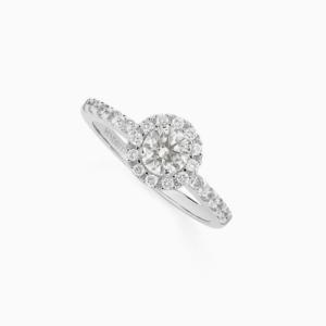 טבעת סוליטייר CLAIR de LUNE בזהב לבן ויהלומים 0.50 קראט