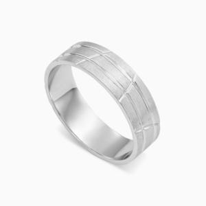 טבעת נישואין בשילוב קווי אינסוף בזהב לבן