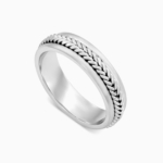 טבעת נישואין בעיטור צמה בזהב לבן
