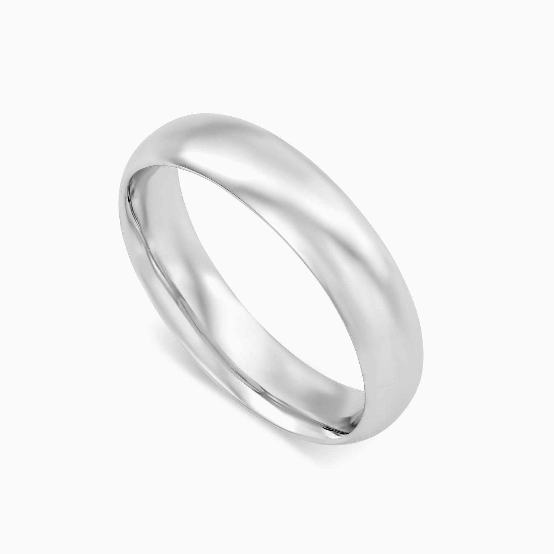 טבעת נישואין קלאסית רחבה בזהב לבן
