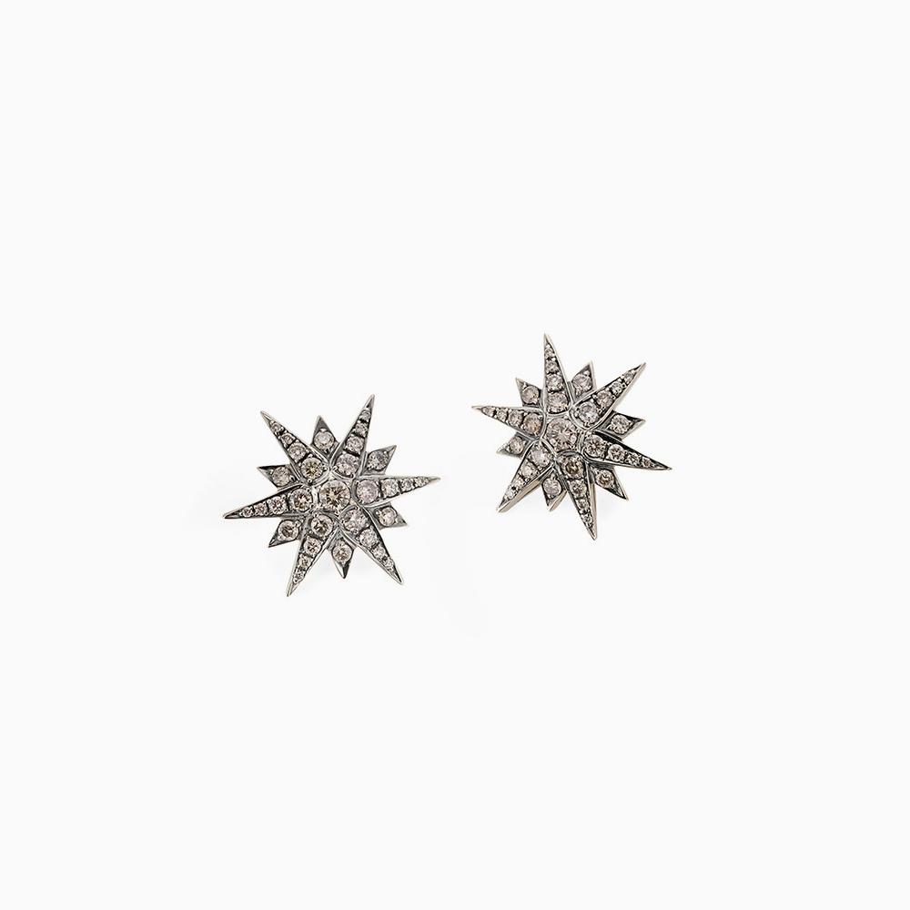 עגילי STARS גדולים בזהב אצילי ויהלומים בצבע קוניאק