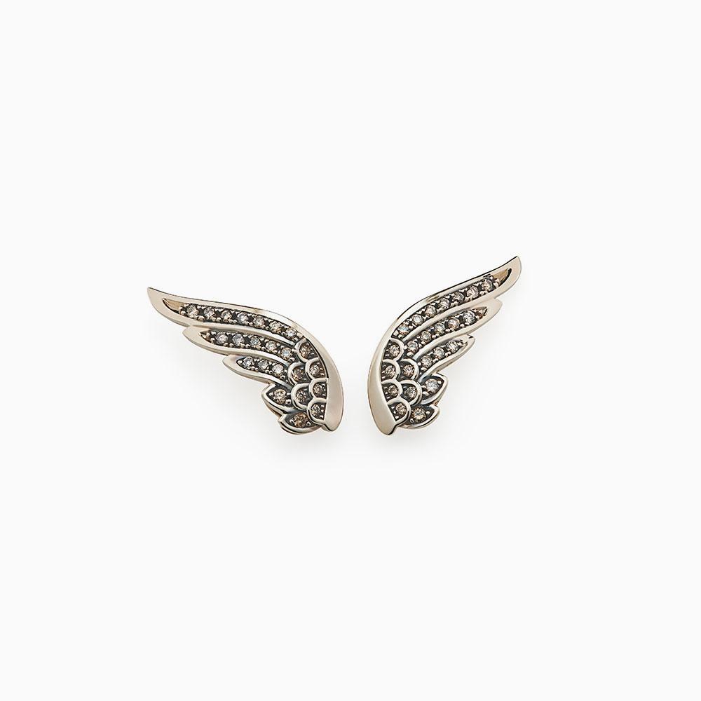 עגילי כנפיים ROCK SEASON קטנים בזהב אצילי ויהלומים