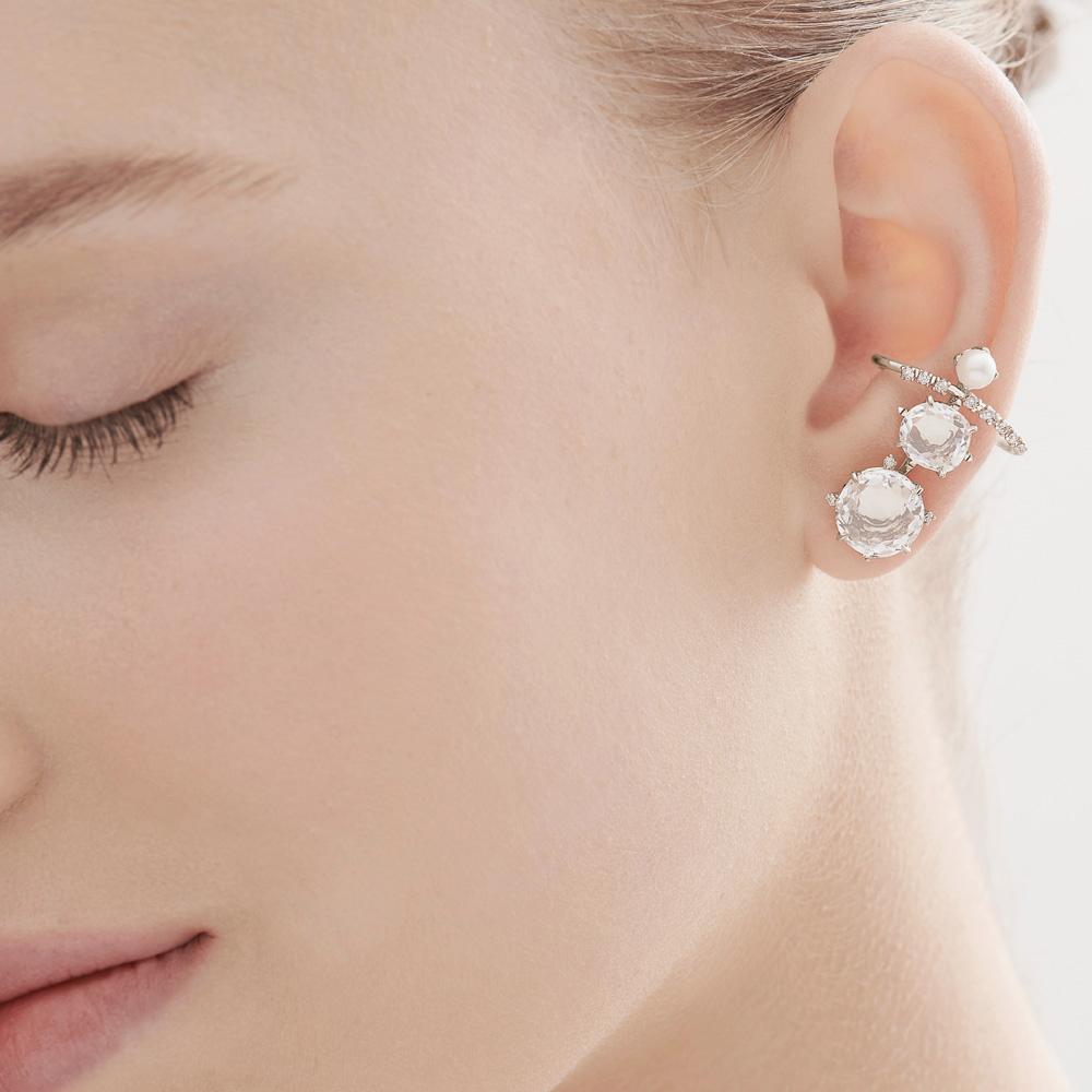 עגילי GRAVITY בזהב אצילי, קריסטל, יהלומים ופנינים