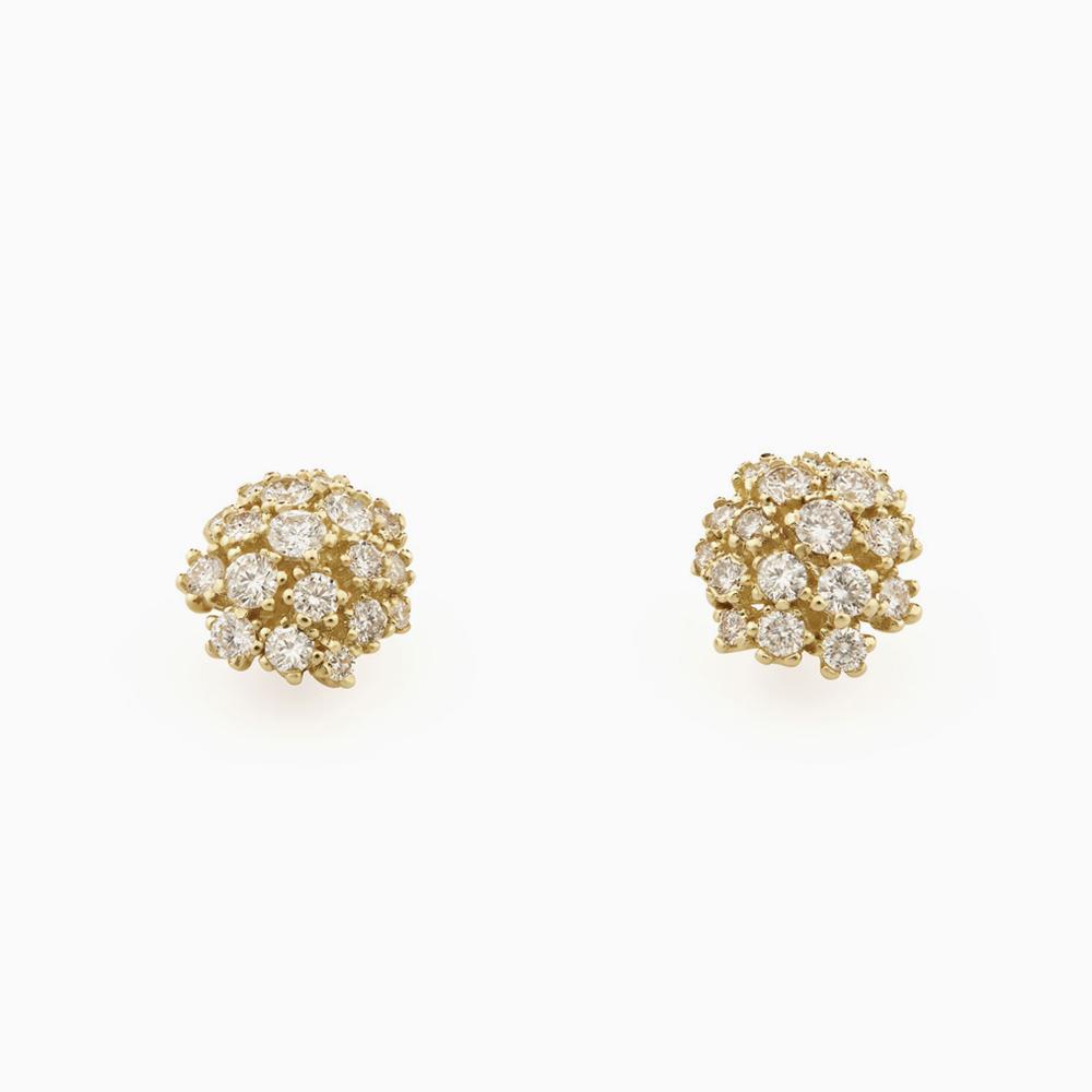 עגילי DIAMOND BOUQUET בזהב צהוב ויהלומים