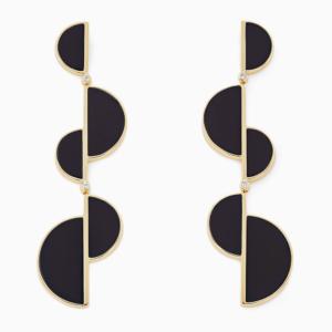 עגילי BURLE MARX  בזהב צהוב, קוורץ שחור ויהלומים