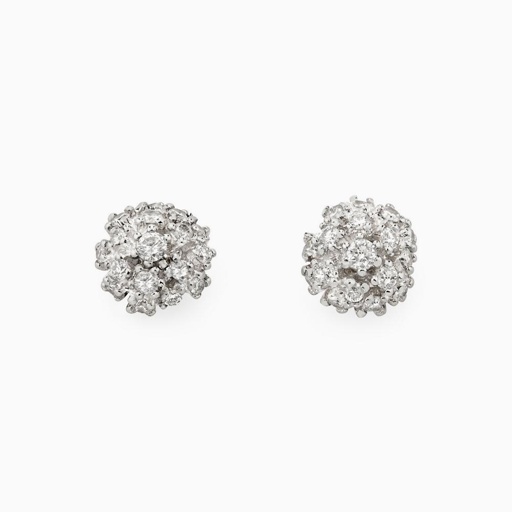 עגילי DIAMOND BOUQUET קטנים בזהב לבן ויהלומים