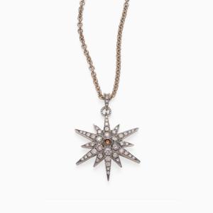 שרשרת STARS גדולה בזהב אצילי ויהלומים בצבע קוניאק