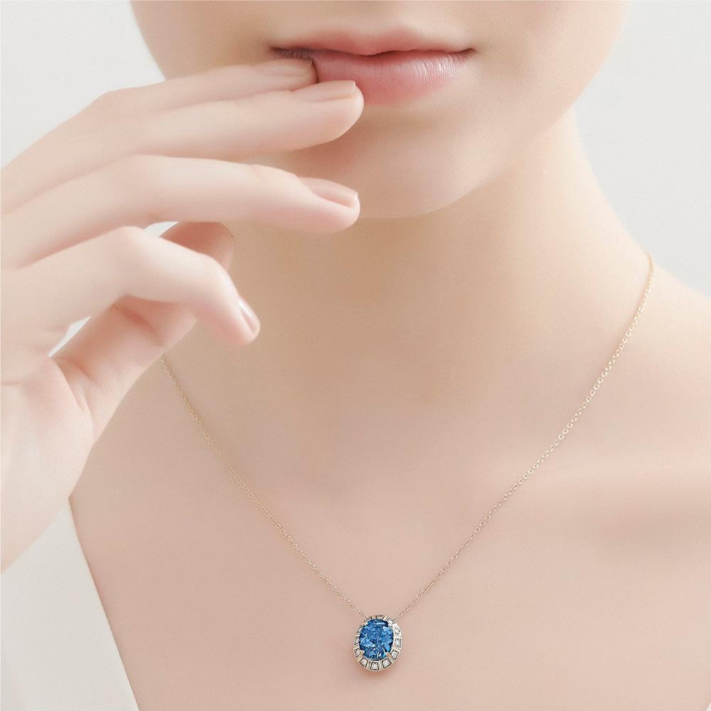 שרשרת ARENA קטנה בזהב אצילי, טופז כחול ויהלומים
