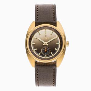 Golden Brown עם רצועה חומה ובשיבוץ יהלום